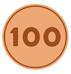 hundred bronze coin vector image