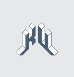 Ku - logo or 2-letter code isometric 3d font vector