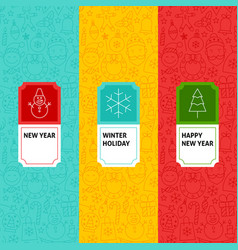 line new year patterns set vector image