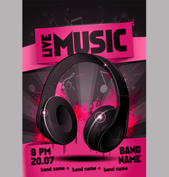 live electro music party poster with headphone vector image