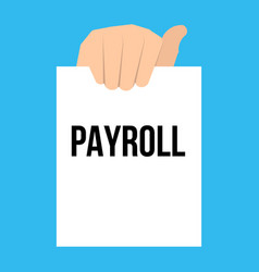 Man showing paper payroll text vector