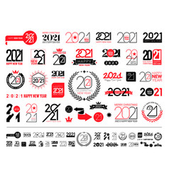 mega collection 2021 happy new year signs set vector image