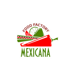 Mexican cuisine restaurant cafe icon vector