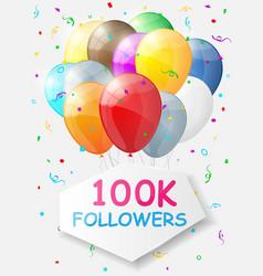 Milestone 100000 followers background vector