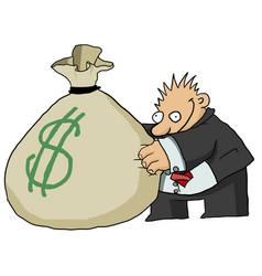 Money grabber cartoon vector