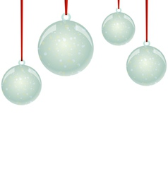NewYear balls with snowflakes and ribbon hanging vector
