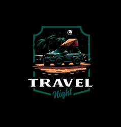 Off-road car stands on night beach vector