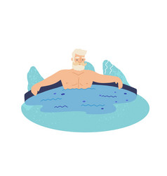 old man in geyser flat vector image
