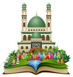 Open book with happy islamic kids and colorful tex vector