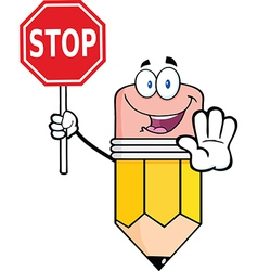 Pencil Cartoon Character Holding A Stop Sign vector image
