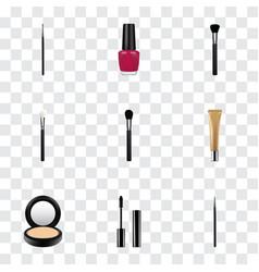 Realistic brush eyelashes ink powder blush and vector