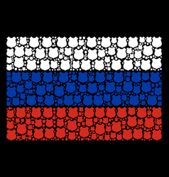Russia flag mosaic of police shield objects vector