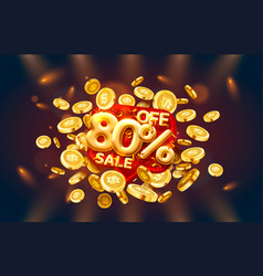 Sale 80 off ballon number on red background vector