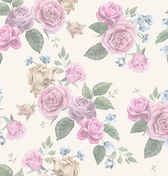 Seamless floral pattern with pink roses on light vector image
