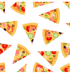 seamless pattern of pizza slices vector image