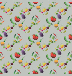 seamless pattern with vegetables healthy food vector image
