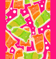 seamless sweet pattern with ice popsicles vector image