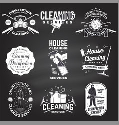 Set disinfection and cleaning services badge vector