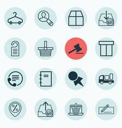 Set of 16 e-commerce icons includes cardboard e vector