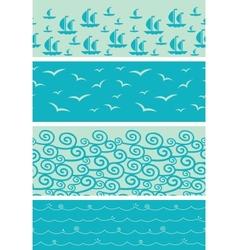 Set of four sea horizontal seamless borders vector