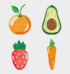 set of pixelated natural food vector image