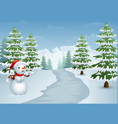snowman on the side of the road with snowy cypress vector image