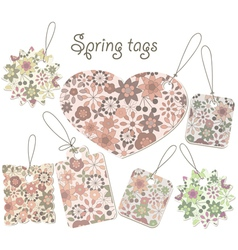 Spring tags with floral pattern vector