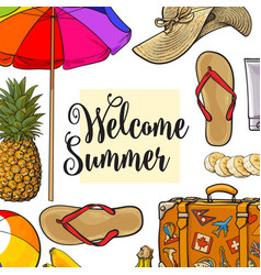 square banner of summertime vacation attributes vector image