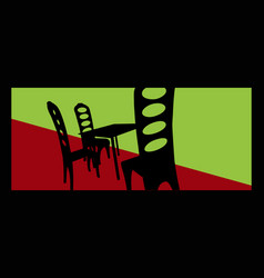 street cafe stylized image a table and chairs vector image