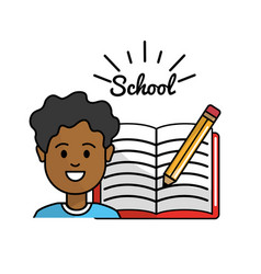 Student with open notebook and pencil tool vector