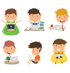 students learn and do homework by computer vector image