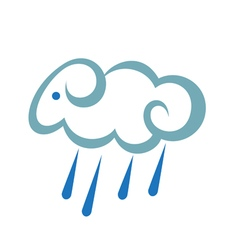 Stylized Sheep As A Cloud With Rain vector