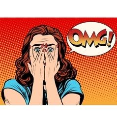 Surprised OMG shocked woman vector