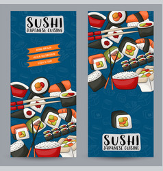Sushi bar and asian restaurant vertical banner vector