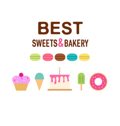 sweeties cakes flat set vector image