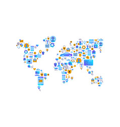 technology world map flat internet icon concept vector image