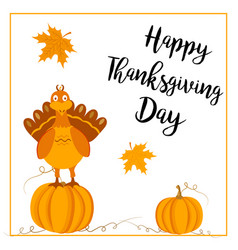 Thanksgiving postcard with turkey and pumpkins vector