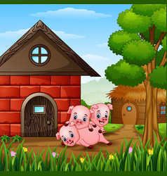 Three little pigs are playing vector