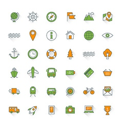 Travel and transportation flat design icon set Map vector