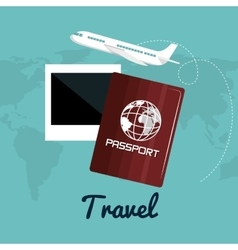 Travel passport airplane vacation design vector