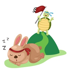 turtle and rabbit running a race vector image
