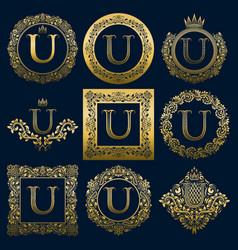 vintage monograms set of u letter vector image