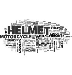 Wear the perfect fit helmet text word cloud vector