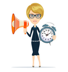 young business woman in suit glasses holding vector image