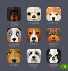 animal faces for app icons-dogs set 3 vector image vector image