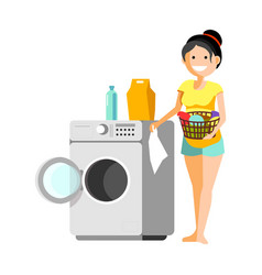 cheerful woman putting clothes to washer vector image