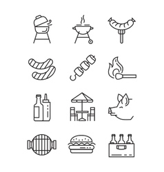 flat bbq icons vector image
