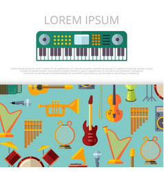 flat musical instrumets banner template vector image vector image