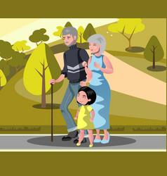 grandparents with grandchildren walking vector image vector image