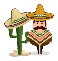 man mexican hat cactus graphic vector image vector image
